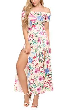 96944114bb46a Zeagoo Womens Sexy Split Floral Offshoulder Beach Party Maxi Dress White L      Amazon most trusted e-retailer