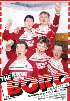 Middlesbrough 0 West Ham 1 in March 1990 at Ayresome Park. The programme cover Middlesbrough Fc, Association Football, Football Program, West Ham, Boro, Programming, Ronald Mcdonald, The Unit, Memories