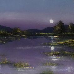 "Linzy Arnott - On the Full Moon - resin on panel - 4"" x 4"""