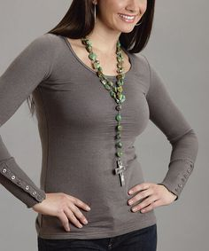 Look what I found on #zulily! Gray Button-Cuff Scoop Neck Top - Women by Stetson #zulilyfinds