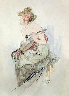 Alphonse Mucha | Stunning 'aquarelle originale', by A. Mucha, from the frontispiece of Le Pater.