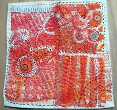 Orange Sherbet hand-stitched fiber art by janeville on Etsy Textile Fiber Art, Textile Artists, Boro, Fabric Art, Fabric Crafts, Embroidery Applique, Embroidery Stitches, Garra, Shibori