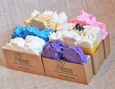 Soap Collection by Cleanse With Benefits. I love the way they pipe the tops