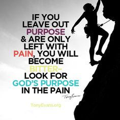 If you leave out purpose and are only left with pain, you will become bitter. Look for God's purpose in the pain. - Tony Evans #HopeWords TonyEvans.org