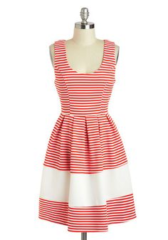 red and white stripe fit and flare sleeveless dress with princess seaming - Performance on the Pier Dress, #ModCloth