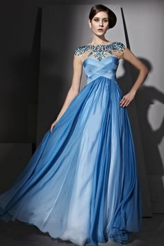 prom dress, Elegant Beading Sheath/ Column Light Blue Silk Chiffon Prom Dress