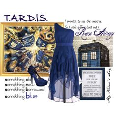 "T.A.R.D.I.S.  Oh my...I've hit a new level of ""geek chic""...I want this dress and these shoes!! And yes, part of it is because it's related to Dr. Who. Don't judge me :)"
