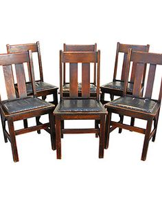 Set of 6 Antique RITTER BROTHERS Dining Chairs MISSION Oak Stickley Era w986_1 | eBay
