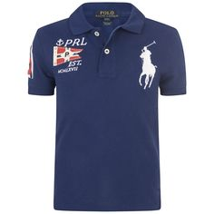 Ralph Lauren Boys Blue Big Pony Cotton Polo Top
