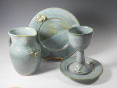 Communion set of 4 pieces in smoky blue green with a dove design -  Ready to ship  W85