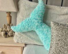 Mermaid Pillow Teal Tail Kids Room Decor Nursery by Dreamhere