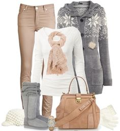 Beige pants, white top, TNA long wool sweater, beige/emu/white boots, nude bag