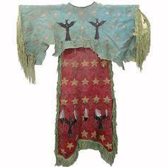 Painted Arapahoe Style Ghost Dance Dress - Chippewa/#Lakota artist Mike McLeod creates an Arapahoe styled Ghost Dance dress. #PrairieEdge