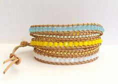 blue, yellow, and white wrap bracelet -- Etsy