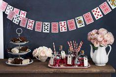 Alice in Wonderland party idea: DIY playing card garland