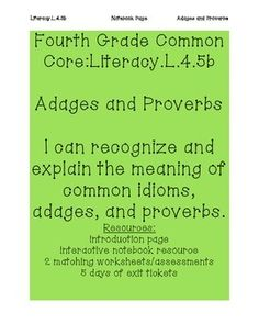 Adages and proverbs worksheets