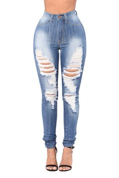 f1afc246bf50 Aphrodite Jeans Destroyed High Waist Skinny Jeans 4311