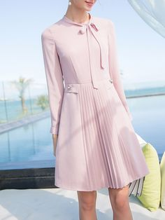 Stand Collar Folds Girly Long Sleeve Midi Dress