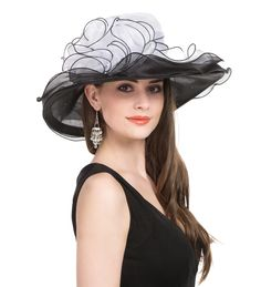 90827b10a05e7 Saferin Women s Kentucky Derby Sun Hat Church Cocktail Party Wedding Dress  Organza Hat Two Tone Color (SF2-Beige+Coffee) at Amazon Women s Clothing  store