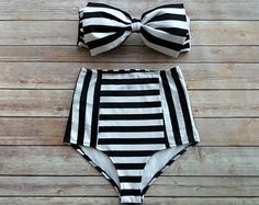 Bow Bandeau Bikini Vintage Style High Waisted Pin-up by Bikiniboo