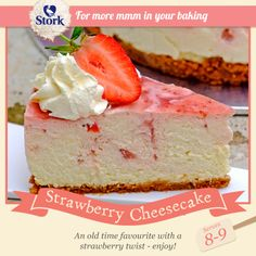 Need a stunning dessert recipe? Try this strawberry cheesecake for a divine dessert today. Stork – Love to Bake. Strawberry Cheesecake No Bake, Cheescake Recipe, Baked Cheesecake Recipe, Swirl Cupcakes, Cupcake Cakes, Stork Recipes, Baking Recipes, Cookie Recipes, African Dessert