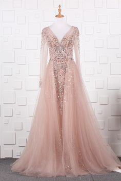 See Through A Line Pink Tulle Beaded Prom Evening Dress V Neck Long Sleeves Blush Pink Prom Dresses, Winter Prom Dresses, Pink Tulle, Evening Dresses, Formal Dresses, Wedding Dresses, Orange Blush, Purple Grey, Prom Dresses Online