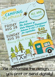 Summer Camping Retreat ~ Community Camping Trip  ~ Church or School ~ 5x7 Invite ~ 8.5x11 Flyer ~ 11x14 Poster ~ 300 dpi Digital Invitation