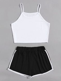 Camisole short with shorts with contrasting trim - Alessandra A. Camisole kurz mit Shorts mit Kontrastbesatz - Alessandra A. , Camisole kurz mit Shorts mit Kontrastbesatz - Alessandra A. Cute Lazy Outfits, Teenage Outfits, Teen Fashion Outfits, Sporty Outfits, Outfits For Teens, Trendy Outfits, Girl Outfits, Style Fashion, Pajama Outfits