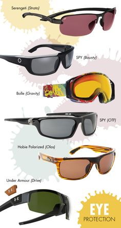 Finding the right pair of sunglasses or ski goggles can help protect your eyes from injury, whether you're participating in high-impact sports or less intense activities. Brands are continually updating features to ensure safety measures. When purchasing your next pair of sunglasses or ski goggles, you should look for lenses and materials that are impact- and shatter-resistant, provide complete UV protection and lenses that are polarized or reduce eye fatigue.