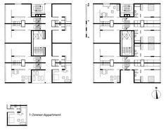 Bakema & Van de Broek _ Floor plans _ Hansaviertel, Berlin, Interbau 57 _ 3-level dwellings