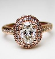 Rose gold with oval diamond center. #rings #engagement ring