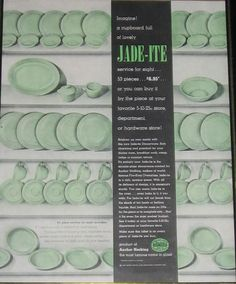 Anchor Hocking Jade-ite Ad - 1948  Imagine! A cupboard full of lovely JADE-ITE  service for eight  53 pieces...$6.95...or you can buy it by the piece at your local 5-10-25c store, department or hardware store!    Brighten up your meals with this new Jade-ite Dinnerware. Both charming and practical for your dining room, breakfast nook, camp, lodge or summer retreat. It's entirely new. Jade-ite is the miracle glass dinnerware created by Anchor-Hocking, makers of world famous Fire-King…