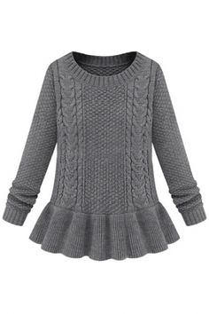 Peplum Flounced Slim Cable Sweater.