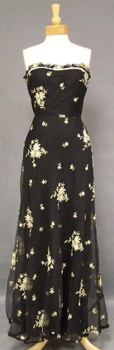 WONDERFUL Embroidered Marquisette 1940's Evening Gown - Vintageous, LLC