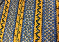 "60x102"" Classic French Provence Tablecloth Vibrant Blue Yellow EX Cond Large 