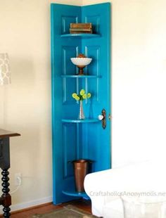 corner shelves made of old wood door