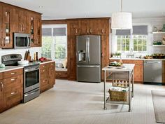 Ready to move on from stainless-steel appliances? Meet a matte gray finish that looks metallic without the surgical feel. It hides fingerprints, and it partners smartly with wood cabinets—and all your old appliances.