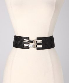 Take a look at this Black Double-Buckle Stretch Belt by Violet Del Mar on #zulily today!