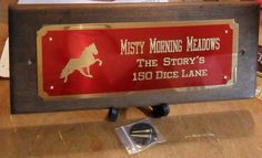 TWO-TONE METAL HORSE STALL SIGN WITH GRAPHIC $50.99  Lots of graphics to choose from! Shown with TWH, Tennessee Walking Horse silhouette.  http://www.starfishfarms.com/horse/stallplates/woodsigns/2tone_graphic.html