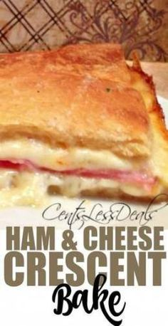 This ham & cheese crescent bake is super easy to throw together and it's so cheesy and delicious! # Easy Recipes for teens Easy Recipes casserole Ham & Cheese Crescent Bake Easy Casserole Recipes, Ham Recipes, Snack Recipes, Cooking Recipes, Snacks, Kraft Recipes, Brunch Recipes, Yummy Recipes, Chicken Recipes