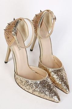 LUCLUC Gold Hollow Rivets Diamond Pointed High Heels Shoes