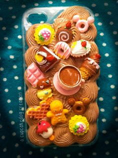Coffee Time Mocha Whipped Cream  Decoden iPhone 4/4S by cupcakedog, $20.00