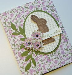 """handmade Easter card ... Vintage Inspired Bunny ... chocolate bunnuy on embossing folder textured oval ... layered flowers ... found on """"bitsofme"""" at Etsy ... Stampin' Up!"""