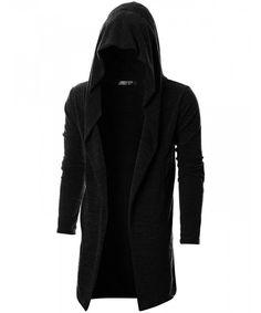 c7e01f5ea41a Mens Long Sleeve Draped Lightweight Open Front Longline Hooded Cardigan -  Dcc055-black - CB18C4UD7UN