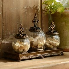 $19.99  Gold Filigree Glass Jar, Set of 3 | Kirklands  4-piece set includes three (3) jars and one (1) tray - COULD USE THE TRAY ON BACK OF TOILET AND THE JARS FOR BATH SALTS