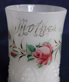 """Glass Milk Glass Tumbler Vase Spooner HP Roses Mother 4"""" Cathedral Window Star Cathedral Windows, Milk Glass, Urn, Tumbler, Roses, Star, Tableware, Vintage, Dinnerware"""