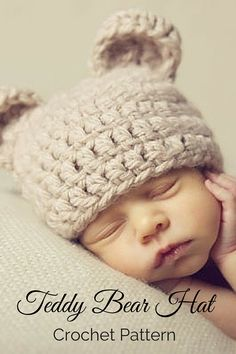 Super cute teddy bear hat crochet pattern. Perfect for babies, kids, and adults. Includes 6 sizes for $5.