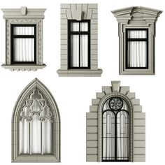 architecture model Classic frame window window classic frame, formats MAX, ready for animation and other projects White Exterior Houses, Classic House Exterior, Classic House Design, House Window Design, House Front Design, Gothic Windows, Classic Window, Window Styles, Exterior Design