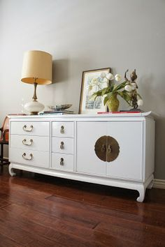 European Paint Finishes: Hollywood Regency Kent Coffey Asian Dresser. Glossy white lacquered finish with Asian brass hardware. console. refinished painted furniture. credenza. mid century modern
