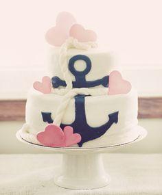 Bolo marinheiro azul e rosa